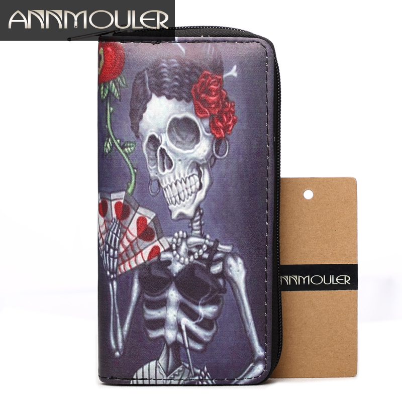 Annmouler Brand Women Wallet Pu Leather Purse Skull Print Coin Purse Long Size Zipper Wallets Large Capacity Card Holders
