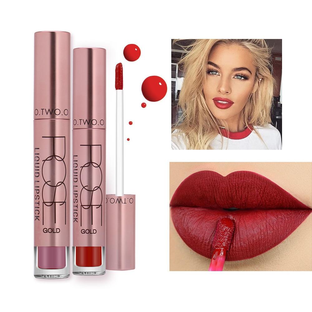 O.TWO.O New High Quality Velvet Matte lipstick Long Lasting Lips Makeup Waterproof Liquid Lipgloss Lip stick Pigmented 12 Colors