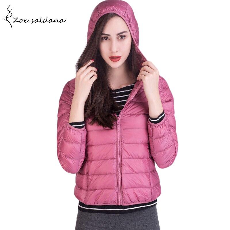 Zoe Saldana 2018 Hooded Ultra Light Down Jackets Women Autumn Women Parka White Duck Down Coat Winter