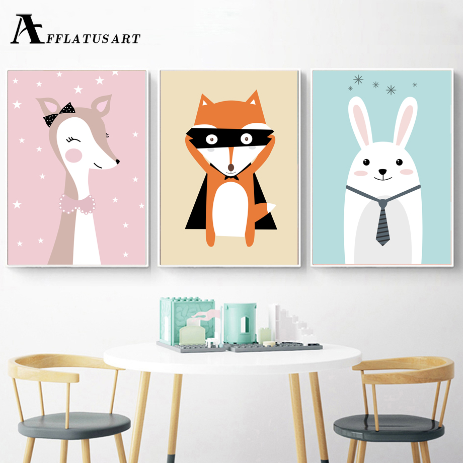 AFFLATUS Deer Fox Rabbit Wall Art Posters