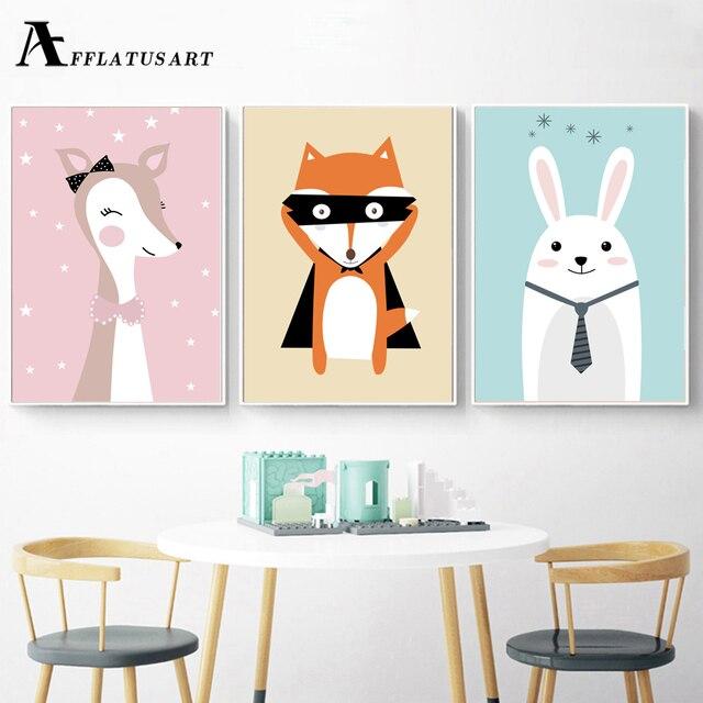 AFFLATUS Deer Fuchs Kaninchen Wand deko Poster Und Drucke Leinwand ...