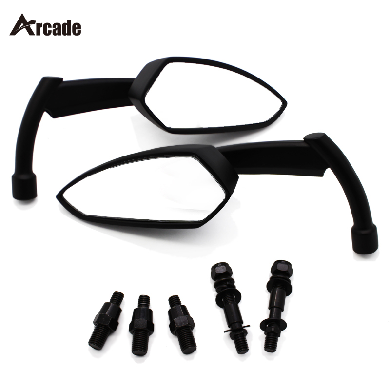 Arcade Black Aluminum Motorcycle RearView Side Mirror For Harley Touring Cruiser Chopper XL Dyna Honda Shadow