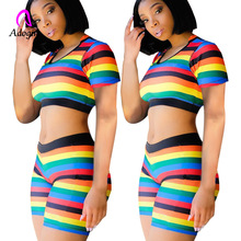 Fitness Rainbow Two Piece Set Women Summer 2019 Skinny Crop Top Striped Slim High Waist Pant Suit Beach Casual