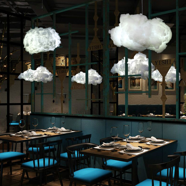Creative Pendant Lights Modern LED Post Modern Ideas Kung Floating Light  Fixtures Cafe Bar Lamps Decorated Cloud Hanging Lights