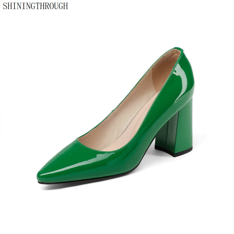 Bombas Cuero Verde Las Los Patente Mano Hecho Clásico rojo Pie Mujer De Zapatos Altos Mujeres Poined Boda A Del Tacones Dedo Genuino xqqA7SwX