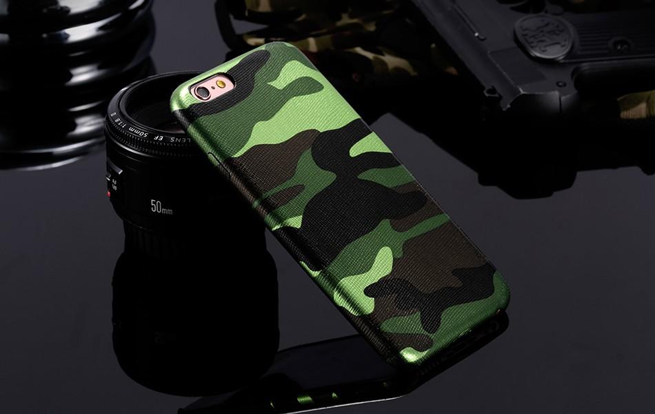 Dla iphone 7 5 5s se case wojskowy kamuflaż mężczyzn skórzane torby telefon sprawach dla iphone 7 7 plus pokrywa dla iphone 6 6s plus 5 5S se 9