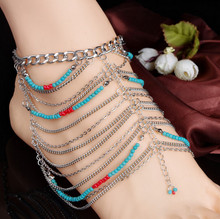 New Vintage Women Ankle Bracelet Foot Jewelry Antique Multilayer Beads Silver Chain Anklet Barefoot Sandals 1PC