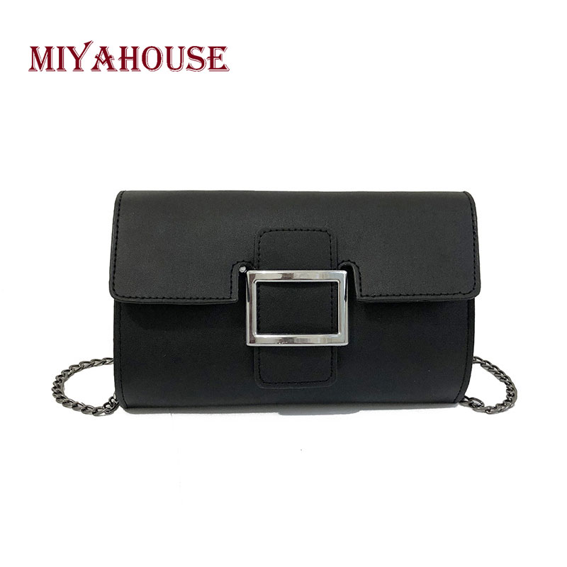 Miyahouse Chain Small Shoulder Solid Black White Crossbody Bag Female PU Leather Hasp Women Messenger Bag Fashion High Quality high quality pu leather women shoulder bag elegant fashion women crossbody bag female casual large capacity solid messenger bag