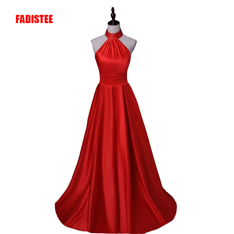 FADISTEE New arrival Long   Evening     Dresses   Beaded halter Floor Length Prom   Dresses   Vestido De Festa backless   dress   long style