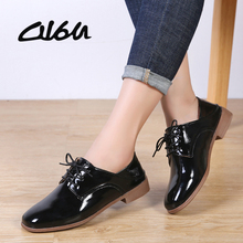 O16U Women Derby Shoes Dress PU Lace up Square Toe Oxfords Shoes Flat Women Black Casual Shoes Office Ballet Flats Women Shoe