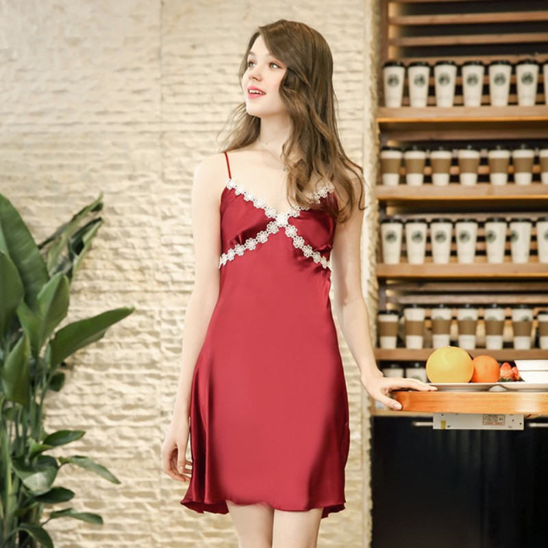 NG0280 Ladies Sexy Night Dress Sleeveless Nighties Night Gown Satin Silk Sleepwear Summer Nightdress Lace   Nightgowns     Sleepshirts