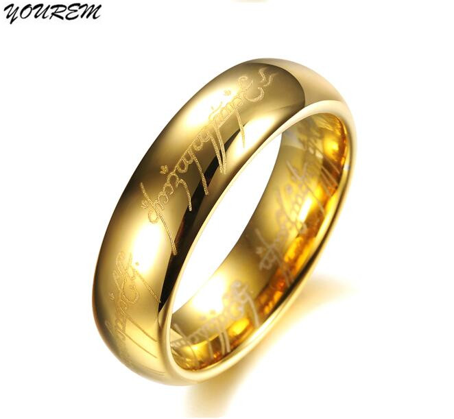 YOUREM 10 pieces wholesale quality stainless steel Titanium lords rings for women men unisex wedding ring 6mm gold color fj429 ...