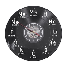 Chemical Periodic Table Vinyl Record Wall Clock Chemistry Math Formula Science Geek Graphic Classroom