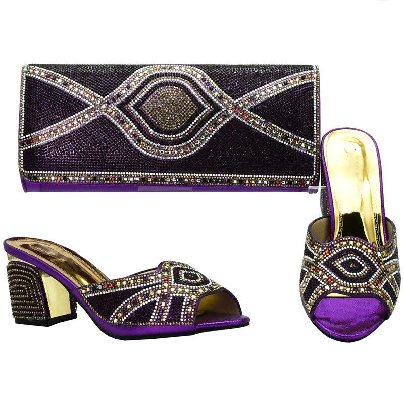 Con Nero Il oro In rosso Moda Strass Borsa blu 2019 purple E Le Donne Delle Set Nuziale Scarpe Ultime Decorato Nigeriano Di Italia Cerimonia g4wU6qH