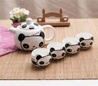 Schöne cartoon panda Kaffee tee set  chinesischen Stil handgefertigte keramik topf tasse mit geschenk box  kung fu tee set-in Teegeschirr-Sets aus Heim und Garten bei