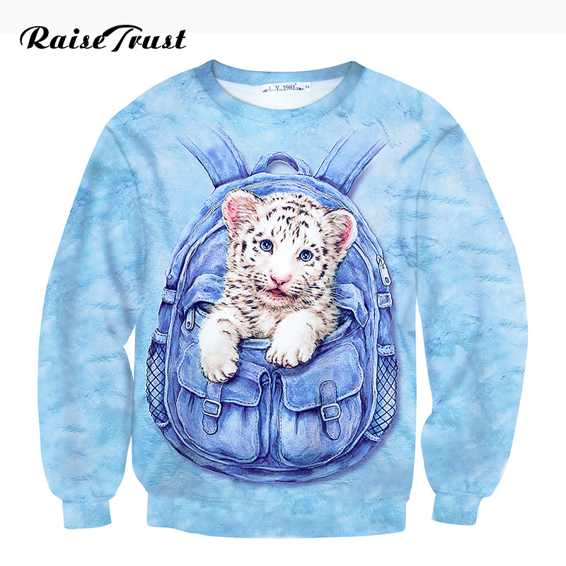 Raise Trust Men/Women 3d Hoodies Print Animal White Tiger Baby Casual Sweatshirts Spring Autumn Long sleeves Hooded hooded