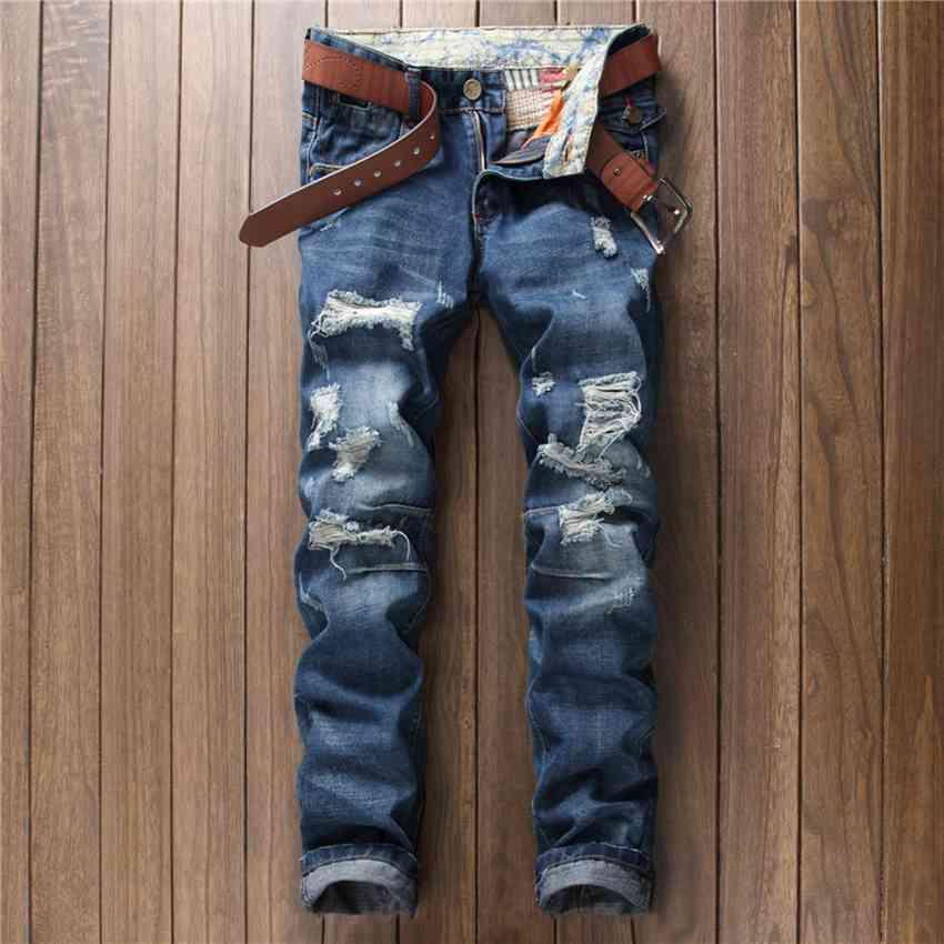 #1533 Mens punk pants Biker clothing Ripped jeans for men Distressed jeans masculino Denim jeans men Elastic designer jeans
