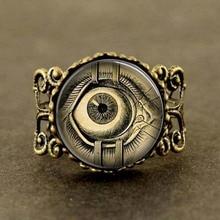Free shipping Steampunk Jewelry Human Anatomy Eyeball Evil Eye Science Medical Art Ring with Ball