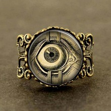 Free shipping Steampunk Jewelry Human Anatomy Eyeball Evil Eye Science Medical Art Ring with Ball