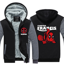 2016 Marvel Hoodies mens Dead Pool Jacket Winter Warm Zipper Coat US EU Size Plus Size