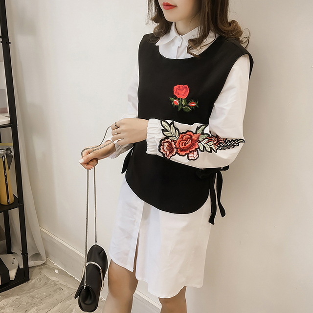 Women Two Piece Dress Set Embroidery Rose Flowers Long Sleeve Bloused Dress and Tank 2pcs Female Suits Spring Sets