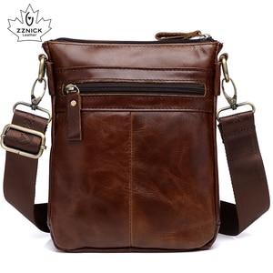 Image 3 - Genuine Leather Bag Handbag Shoulder Mens Bag Small Messenger Leather Crossbody Men Bags 2019 Male Flap Zipper Handbag ZZNICK