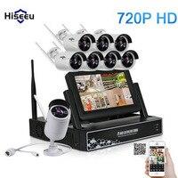 Hiseeu 8CH 720P Wireless CCTV System 7 Inch Displayer Wireless NVR IP Camera IR CUT Bullet