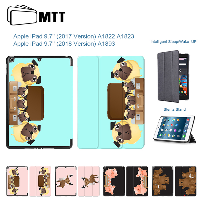 PU Smart Cover For Apple New iPad 9.7 2017 2018 Case Funda Tablet A1822 A1893 Dogs Bears Pigs Family Leather Stand Shell Case