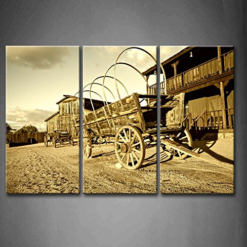 3 Panel Wall Art Wild West Cowboy Town With Wagon Painting Pictures ...