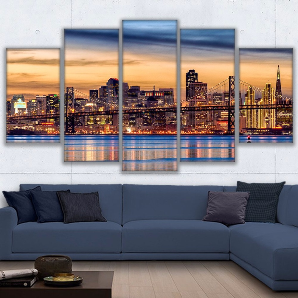 Canvas Wall Art Pictures Framework Living Room Prints Posters 5 Pieces San Francisco Twilight Bridge Sunset Paintings Home Decor