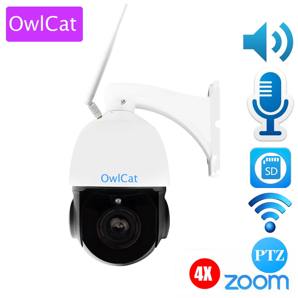 OwlCat Sony323 CMOS 3516C Outdoor Waterproof WiFi 4X Zoom PTZ IP Dome Camera 1080P HD IR Night Vision Audio Two way Talk Metal 4 in 1 ir high speed dome camera ahd tvi cvi cvbs 1080p output ir night vision 150m ptz dome camera with wiper