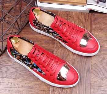 2018 spring Men Sheet metal sheos Causal Shoes Loafers shoes Moccasins Men Graffiti printing Driving designer shoe For Man