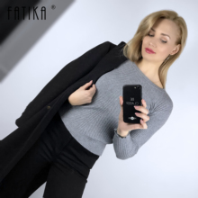 FATIKA Womens Autumn Winter Cashmere Blended Sweater O Neck Pullovers Long Sleeve Jumpers Women s Knitted