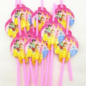 Image 5 - 82 Stk/set Kid Verjaardagsfeestje Supplies Prinses Tafelkleed Plaat Cup Servet Princesa Baby Shower Servies Decoratie Favor
