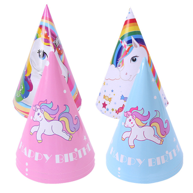 6pc Set Happy Birthday Hat Unicorn Party Paper Pink Blue Girl Boy Decoration Kids Event Supplies