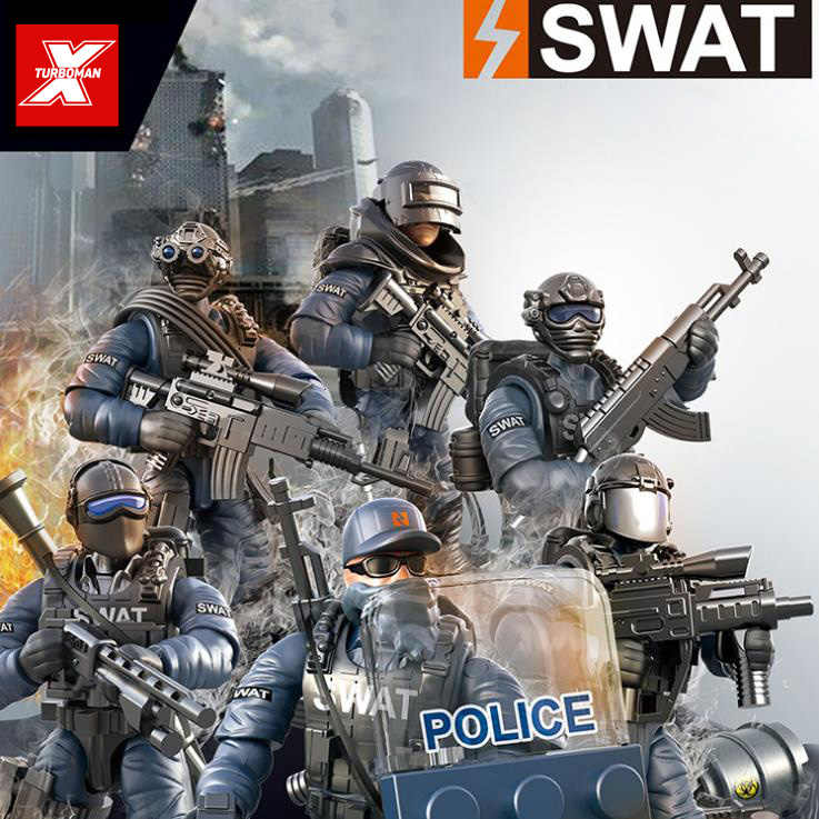 City counter-terrorism swat figures building block mega modern military super police Corps minifigs weapons toys for kids gifts