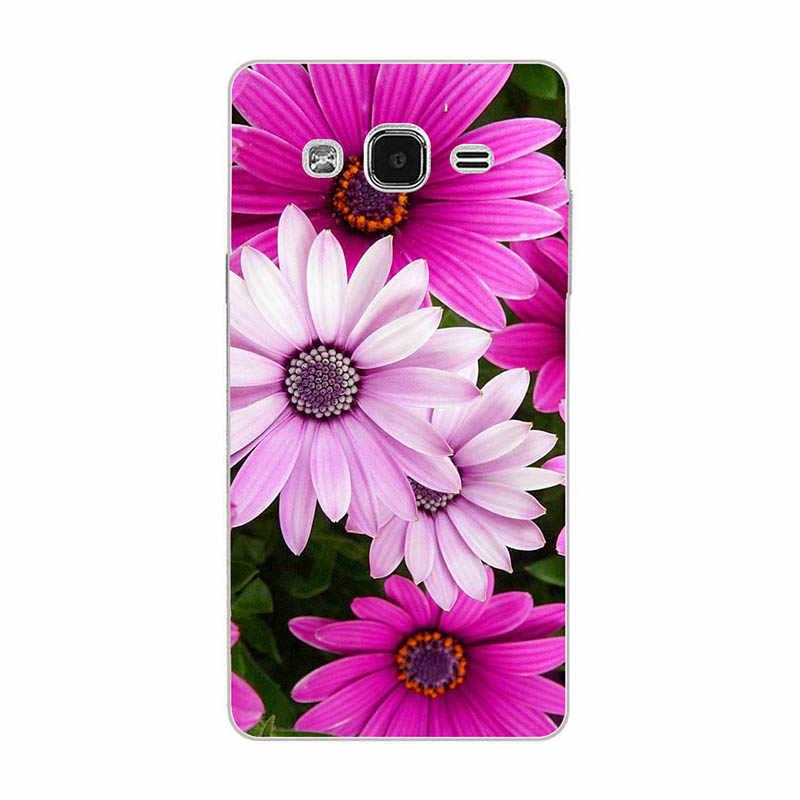 Çiçek Baskı Kılıfları Samsung Galaxy On7 Kapak Kılıf 7 Mega O7 G600 G6000 Koruyucu Cilt Sert kabuk Kauçuk cep telefonu Çantası