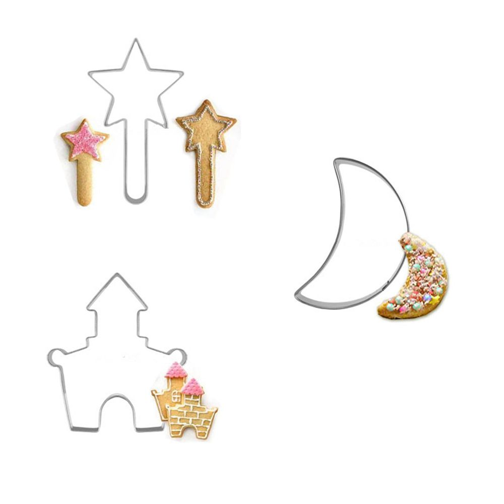 3pcs/set Magic Wand Gingerbread House Moon Molds for Cookies Egg Pasta Cutter Mousse Rin ...