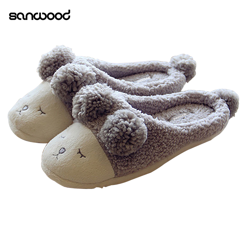 Winter Warm Home Indoor Cute Sheep Pattern Anti-Slip Slippers Soft Couple Shoes soft plush big feet pattern winter slippers