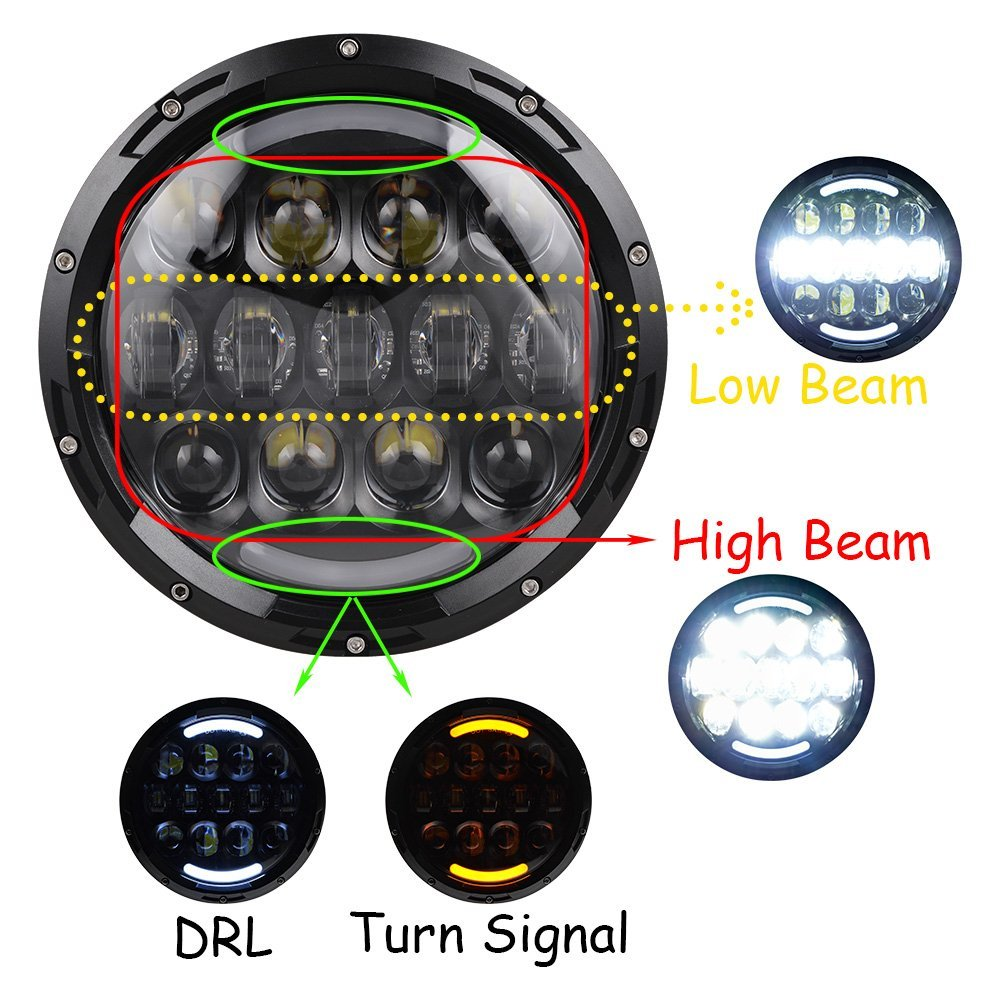 For Jeep LED Headlight 7 LED Headlamp with White Halo&Amber turn signal light&DRL lamp 7inch LED Projector Head Lamp - 6