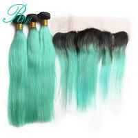 Riya Haar Braziliaanse Menselijk Haar 1B/Lichtgroen Kleur Steil Haar 3/4 Haarverlenging Met 13*4 Kant Frontale Ombre Remy haar