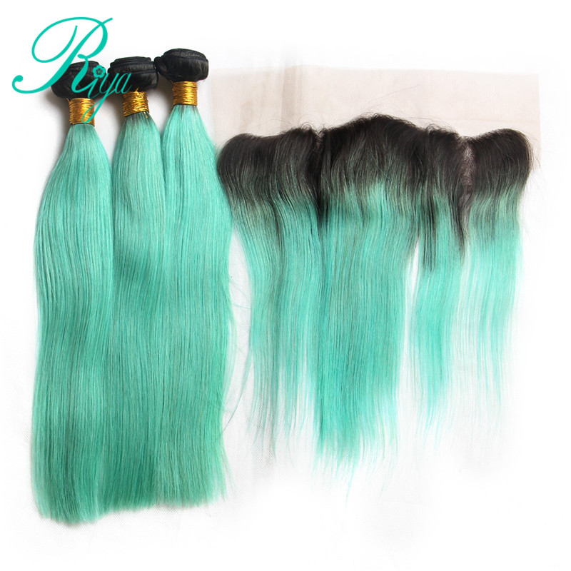 Riya Hair Brazilian Human Hair 1B/Light Green Color Straight Hair 3/4 Hair Extension With 13* 4 Lace Frontal Ombre Remy Hair