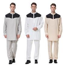 2 stuk Moslim Mens Saudi Thobe Gewaad Arabische Kaftan Islamitische Kleding Lange Mouwen Top + Broek Dubai Jubba Pak Midden oost Outfits