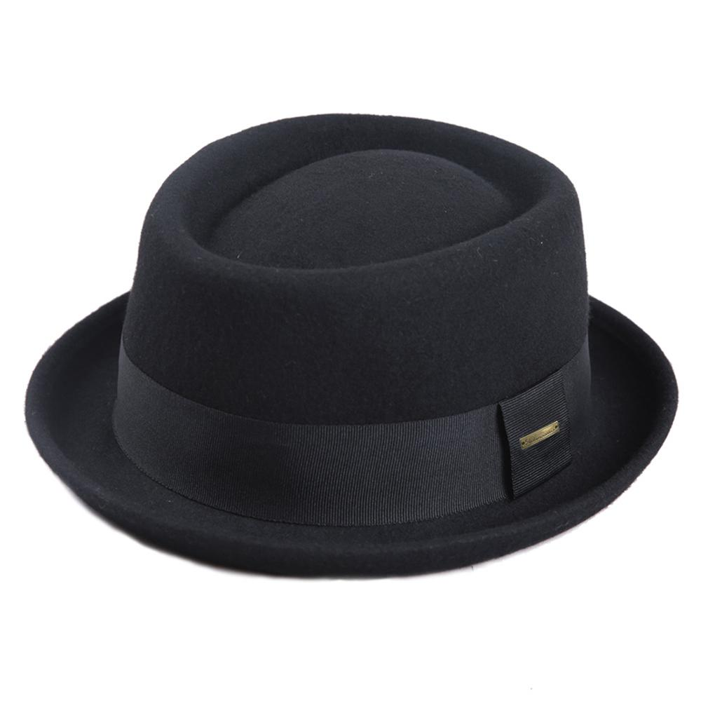 Sedancasesa 100% Australia Wool Men's Fedora Hat Pork Pie Hats for Classic Church Wool Felt Hat 2019 New Autumn Winter title=