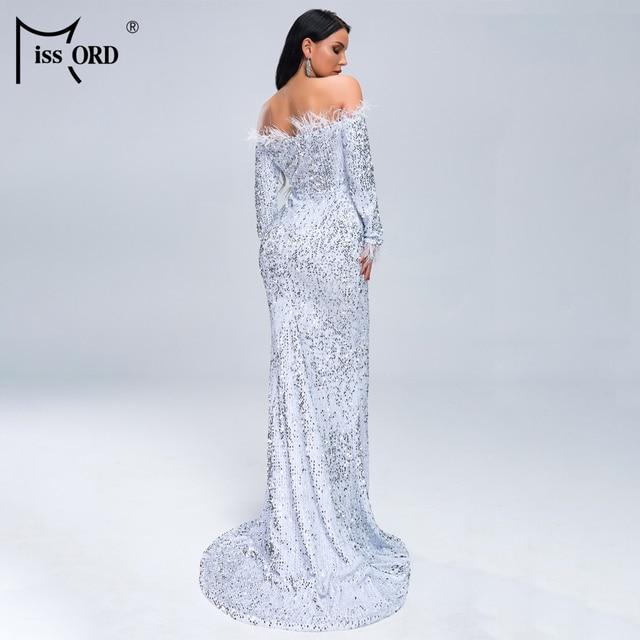Missord 2019 Women Sexy Off Shoulder Feather Long  Sleeve Sequin floor length Evening  Maxi Reflective Dress Vestdios  FT19005-1 3