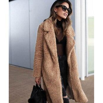 talla 40 51432 1159b Abrigo grueso largo de peluche de Invierno para mujer de calle de gran  tamaño chaquetas y abrigos d