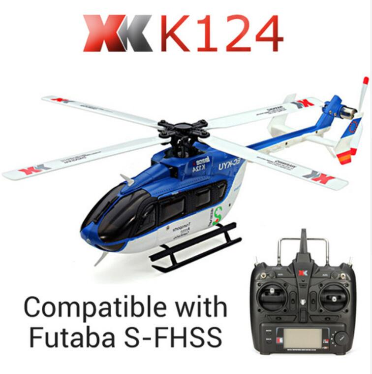 Original XK K124 EC145 6CH Brushless motor 3D 6G System RC Helicopter Compatible with FUTABA S-FHSS RTF VS Wltoys V977 original xk k124 bnf without tranmitter ec145 6ch brushless motor 3d 6g system rc helicopter compatible with futaba s fhss