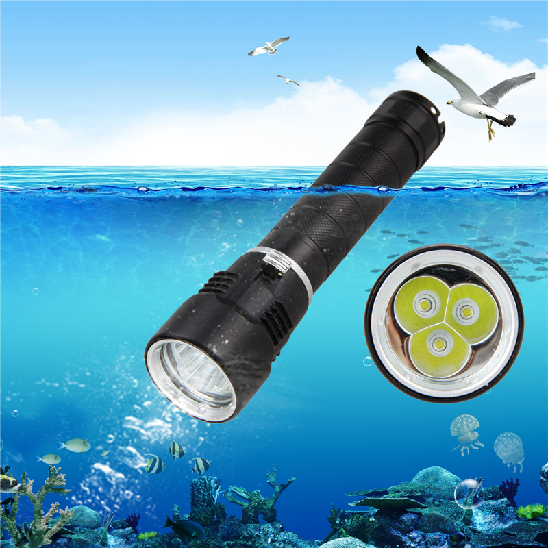 Купить с кэшбэком Diving Flashlight The Original Ultra Bright High Lumen Output LED Aluminum Torch Underwater 100M Flashlight for 18650/26650