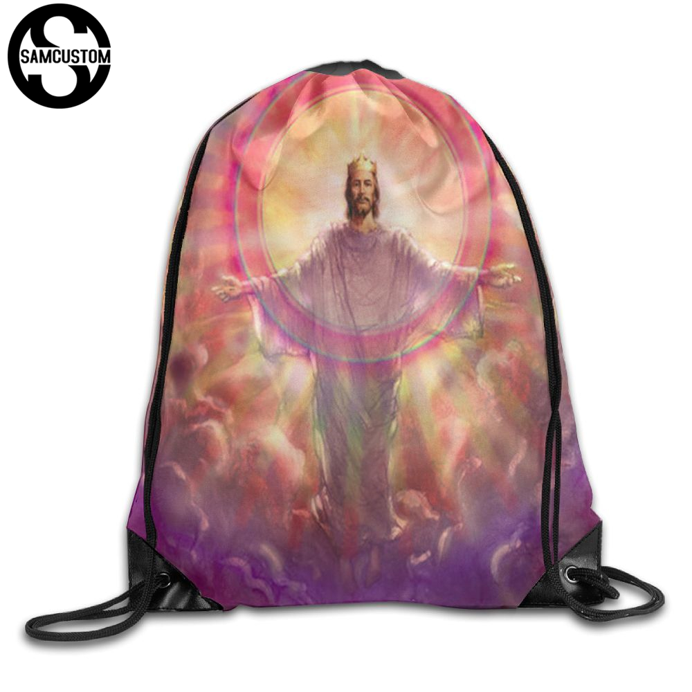 Samcustom Jesus Christianity Apparent Shoulders Bag Fabric Backpack Men And Women Port Drawstring Travel Shoes Dust Storage Bags