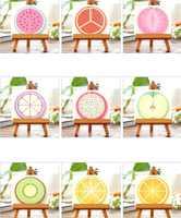 1 pacotes/lote Doce 3D Fruto Cartão Nove Projeto Aleatório DIY Cartões de Presente Cartão Postal